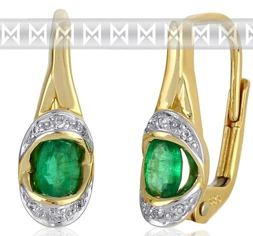 Diamantové zlaté náušnice s přírodnými zelenými pravými smaragdy 3830932 POŠTOVNÉ ZDARMA! (3830932-5-0-96)
