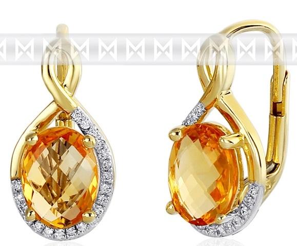 Luxusní zlaté diamantové náušnice poseté diamanty a pravými citríny 3831059 POŠTOVNÉ ZDARMA! ( 3831059-5-0-80)