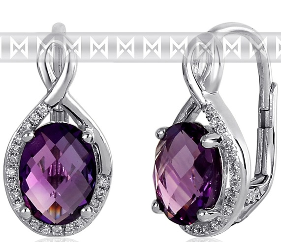 Luxusní zlaté diamantové náušnice s diamanty, pravými fialovými ametysty 3881057 POŠTOVNÉ ZDARMA! (3881057-0-0-95)