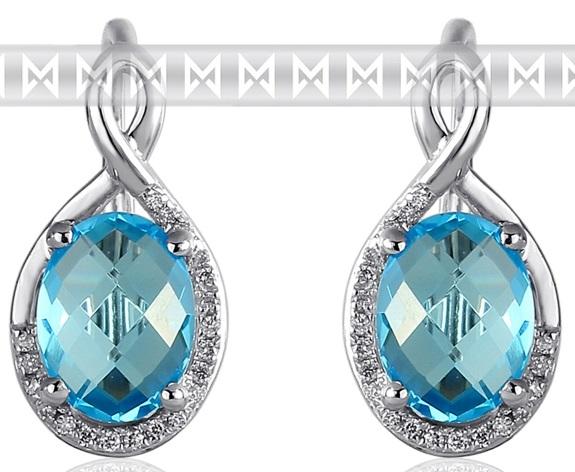 Luxusní zlaté diamantové náušnice s diamanty, pravými modrými topazy 3881054 POŠTOVNÉ ZDARMA! (3881054-0-0-93)
