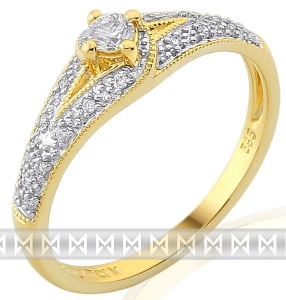 Luxusní zásnubní zlatý diamantový prsten posetý pravými brilianty 3811841