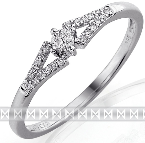 Luxusní zásnubní zlatý diamantový prsten posetý pravými brilianty (bílé) 3861303