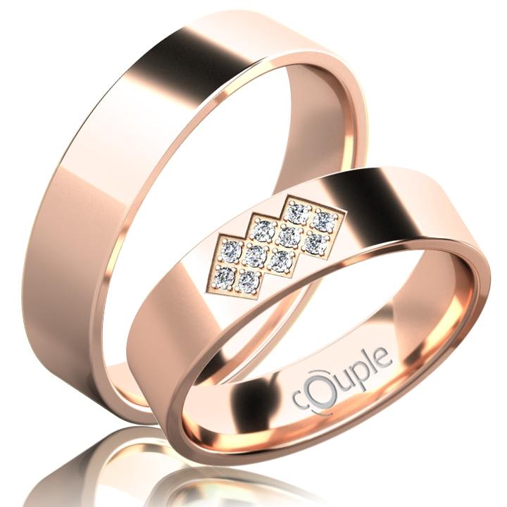 FLAMENCO snubní prsteny červené zlato C 5 PCW 2 (C 5 PCW 2)