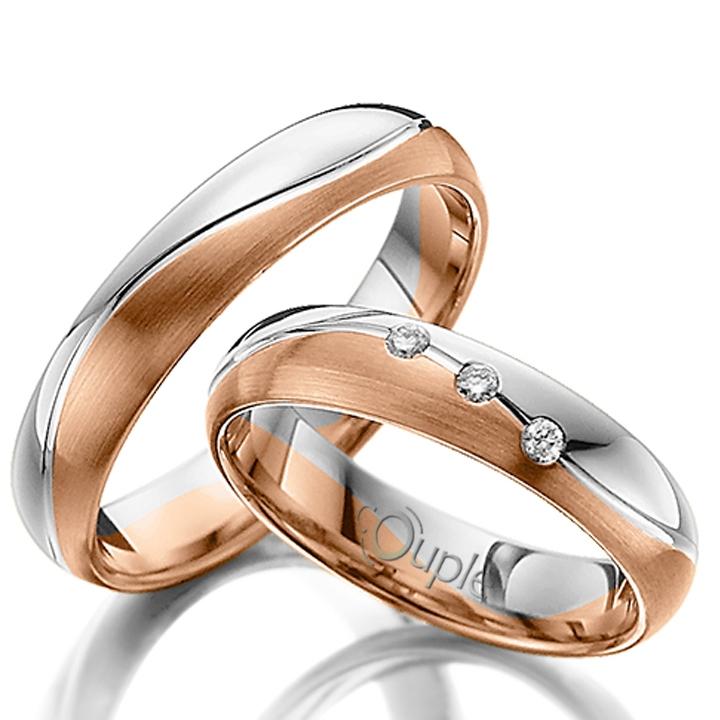 VARADERO snubní prsteny kombinace růžové a bílé zlato C 4 WN 2 BC (C 4 WN 2 BC )
