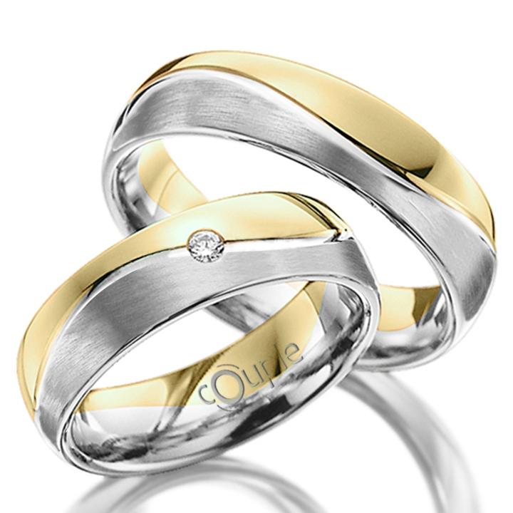 VARADERO snubní prsteny kombinace bílé žluté zlato, mat C 5 WN 4 B-M Z (C 5 WN 4 B-M Z )