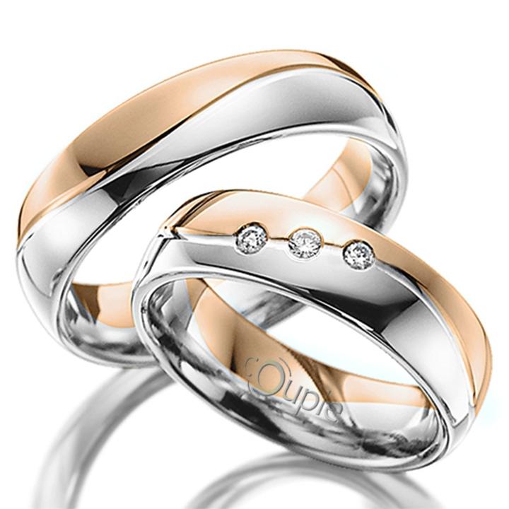 VARADERO snubní prsteny kombinace bílé růžové zlato C 5 WN 2 BC