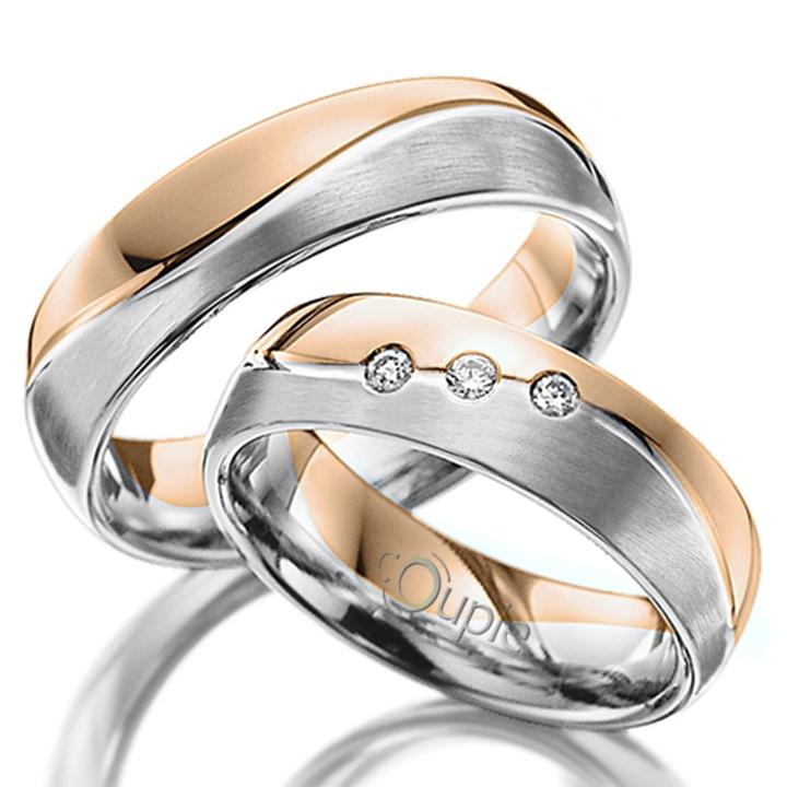 VARADERO snubní prsteny v kombinaci bílé a růžové zlato, mat C 5 WN 2 B-M C