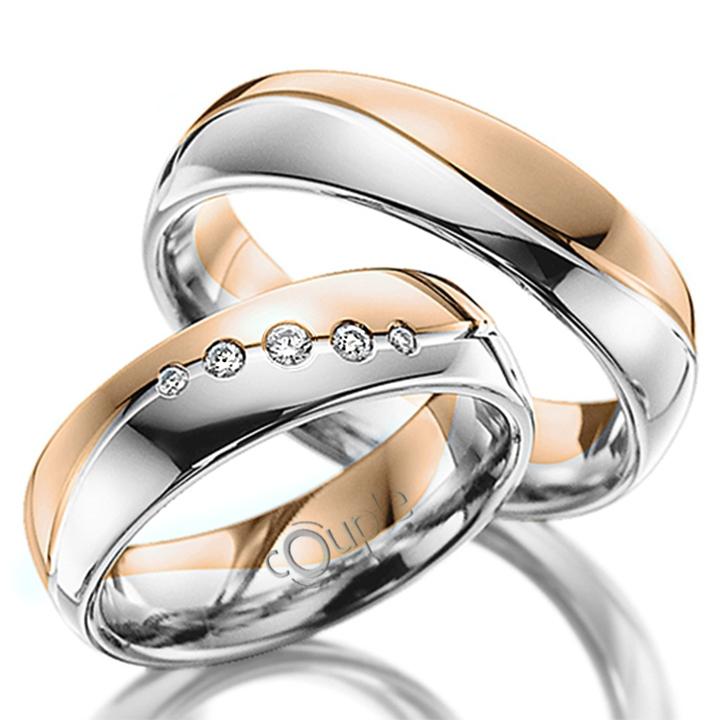 MAHOGANY snubní prsteny v kombinaci bílé a růžové zlato C 5 WN 3 BC