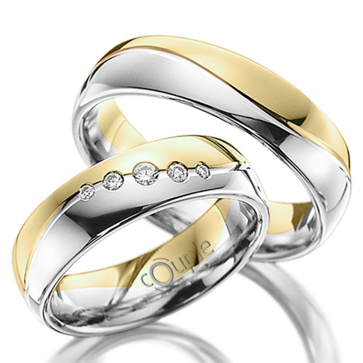MAHOGANY snubní prsteny v kombinaci bílé a žluté zlato C 5 WN 3 BZ (C 5 WN 3 BZ )