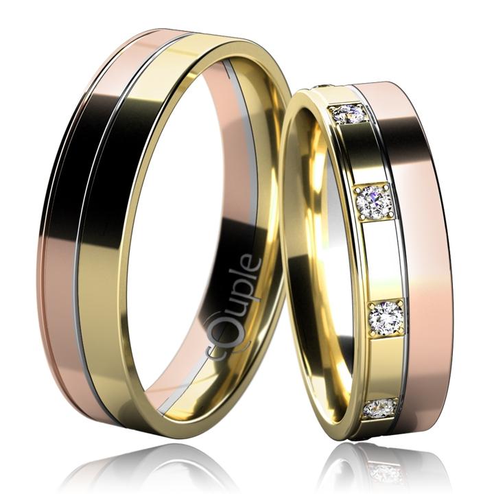 MAURICIUS snubní prsteny červené, bílé, červené zlato C 5 UE 1 CBZ - (C 5 UE 1 CBZ )