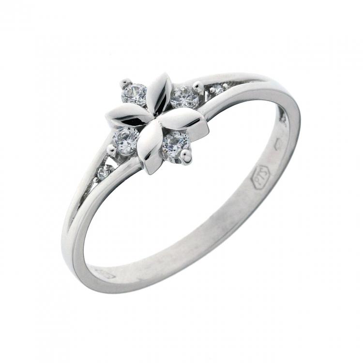 Zlatý prsten, bílé zlato se zirkonem 1860301-0-51-1