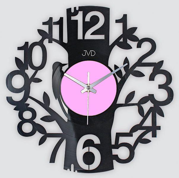 Nástěnné hodiny design JVD HJ64 ze skutečné gramodesky