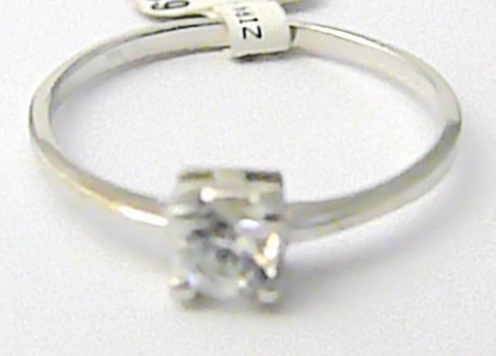 Zásnubní zlatý prstýnek z bílého zlata se zirkonem 585/1,1 gr vel. 53 P481 (6860076)