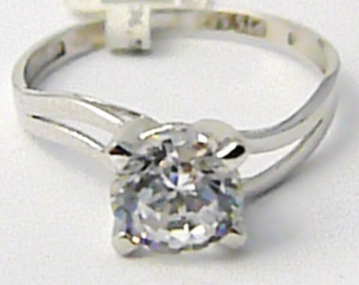 Zásnubní mohutný prstýnek z bílého zlata se zirkonem 585/2,2 gr vel. 59 P482 POŠTOVNÉ ZDARMA!