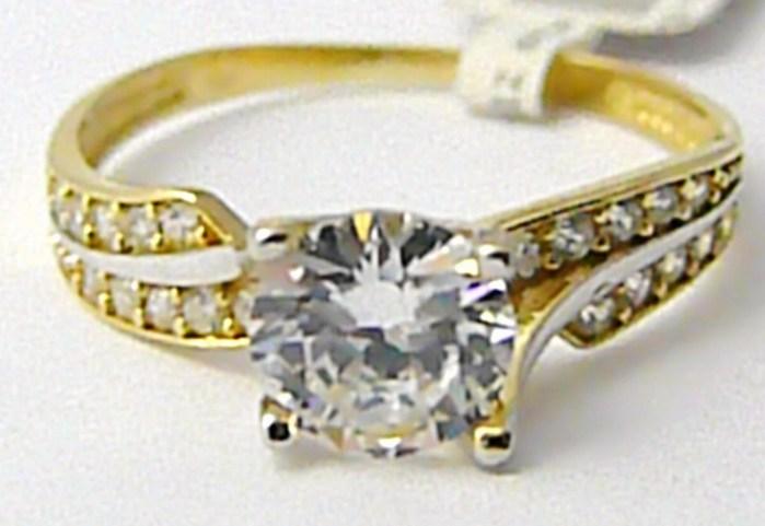 Zlatý zásnubní prstýnek s velkým zirkonem (bílé žluté AU) 585/2,12gr vel.56 P492 POŠTOVNÉ ZDARMA!
