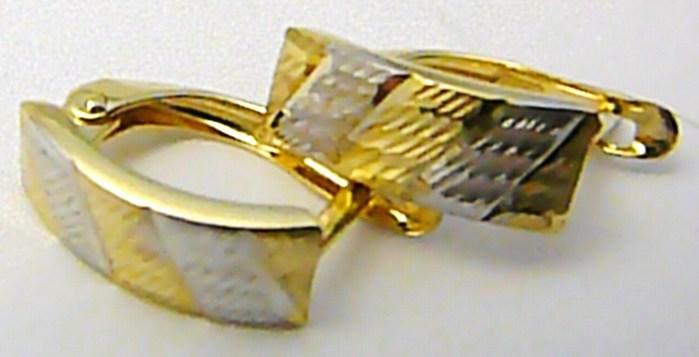 Mohutné zlaté náušnice z bílého a žlutého zlata s gravírováním 585/1,27gr P495 POŠTOVNÉ ZDARMA! (1131800)
