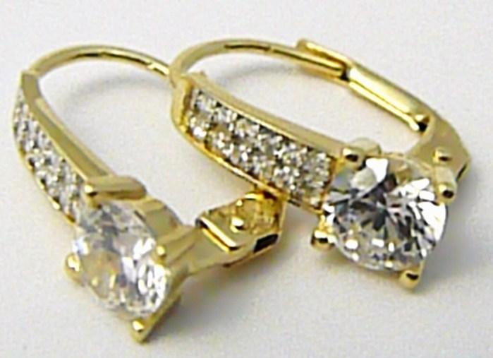 25b60bd31 Luxusní zlaté náušnice s mnoha zirkony klasické zapínání 585/2,62 gr P497  POŠTOVNÉ ZDARMA!