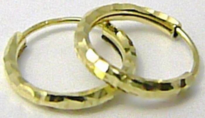 Dámské zlaté kruhy s gravírováním - náušnice průměr 12mm 585/0,65gr P503