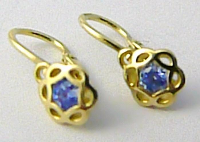 Dětské zlaté náušnice s modrými akvamaríny ze žlutého zlata 585/1,0 gr 4030017