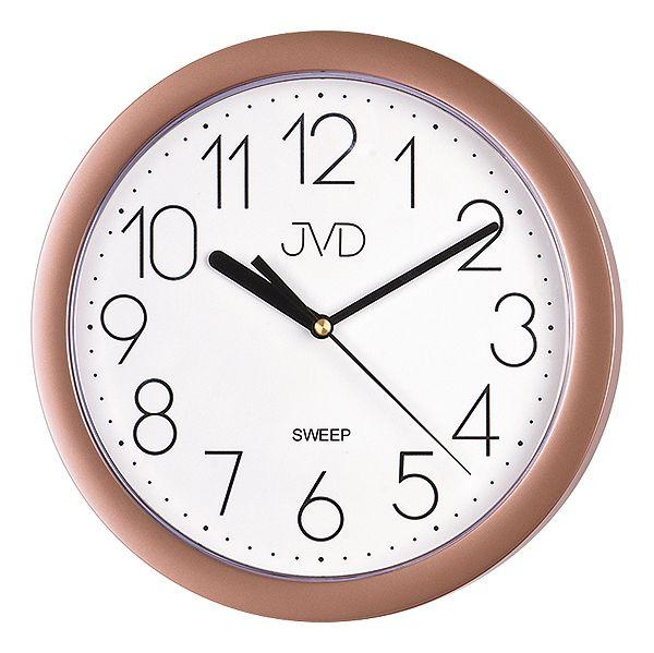 Béžové plastové nástěnné netikající tiché hodiny JVD sweep HP612.24
