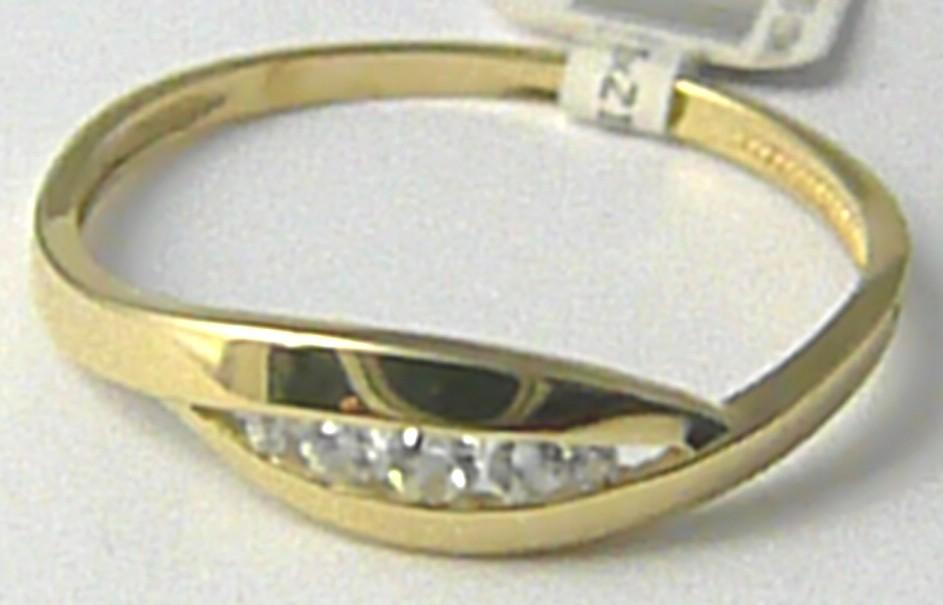 Zlatý prsten / prstýnek posetý 4 ks zirkony 585/1,47 gr vel. 60 P518 POŠTOVNÉ ZDARMA!