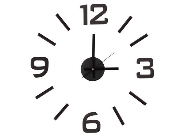 Černé nalepovací levné nástěnné hodiny WCS3 (5211-069)