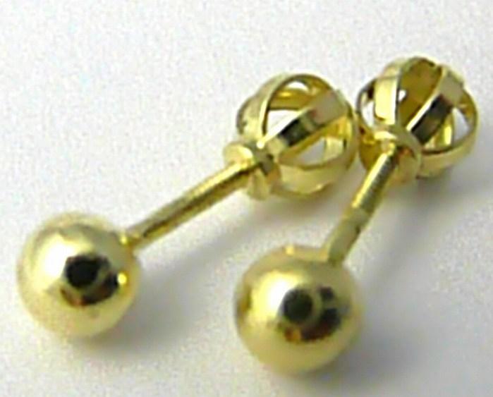 Zlaté velké pecičky - zlaté náušnice pecky na šroubek 585/0,62gr 3530031 (POŠTOVNÉ ZDARMA!!)