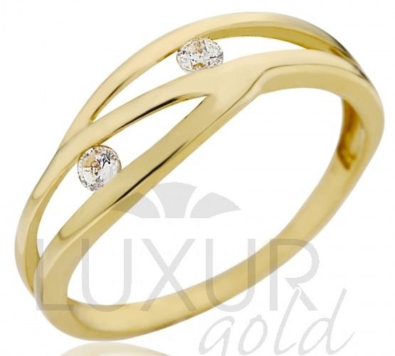 Dámský silný zlatý prsten se dvěma zirkony 585/1,37 gr vel. 56 P534 (4515049)