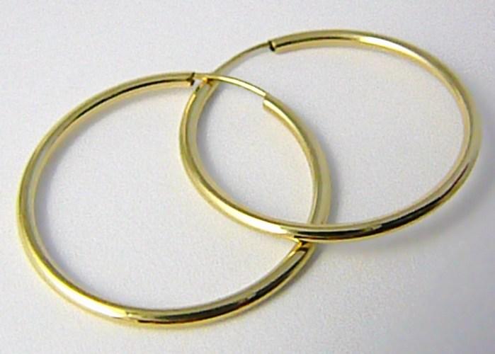 Dámské velké zlaté kruhy 26mm/2,6cm 585/0,80gr H573