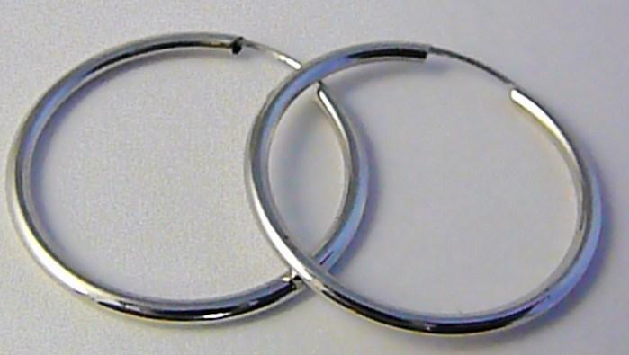 Dámské velké zlaté kruhy z bílého zlata 26mm/2,6cm 585/0,77gr H576