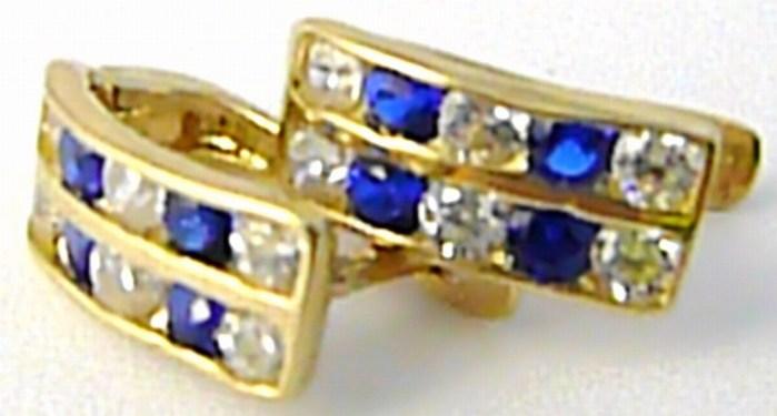Dámské zlaté dvojité čtvrtkroužky se safíry 585/1,25 gr H589