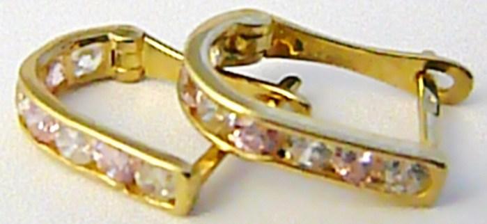 Dámské klasické zlaté půlkroužky s růženíny 585/1,28 gr H590