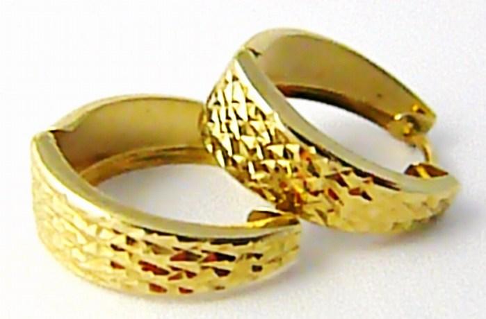 Dámské zlaté mohutné kruhy - náušnice s gravírováním 585/1,38gr H594