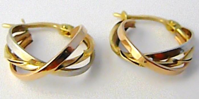 Mohutné velké zlaté kruhy z trojího zlata 585/1,40gr H596 POŠTOVNÉ ZDARMA!