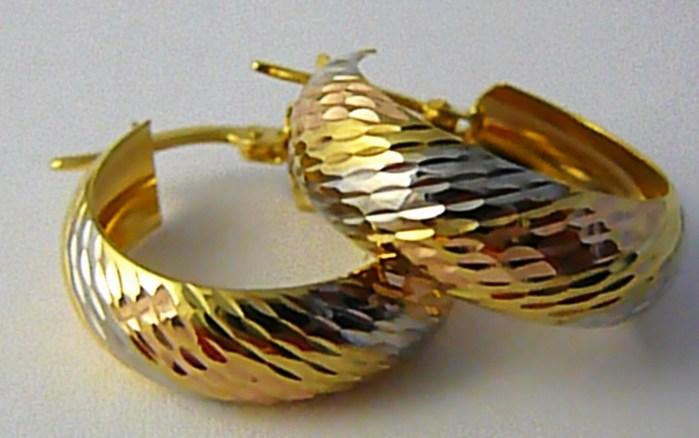 Mohutné obrovské zlaté kruhy z trojího zlata 585/2,55gr H597 v