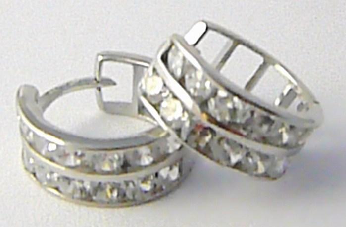 Dámské zlaté kruhy z bílého zlata poseté zirkony 585/2,12 gr H599 POŠTOVNÉ ZDARMA!