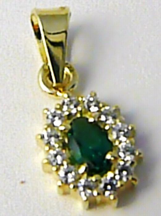 Zlatý přívěsek posetý zirkony se zeleným smaragdem 585/0,96 gr Z113 POŠTOVNÉ ZDARMA!