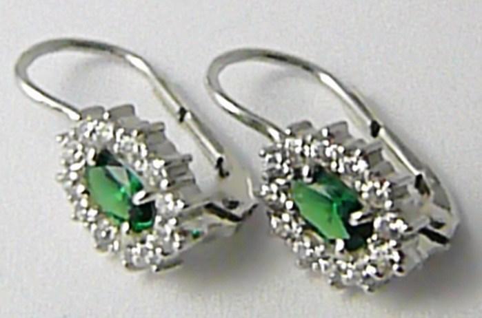 Náušnice z bílého zlata se zelenými smaragdy bílé zlato 585/2,13gr Z115 (336040977)