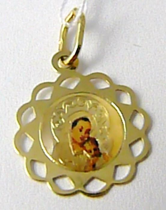 Zlatý přívěsek - gravírovaný - zlatá madonka smaltovaná 585/0,57gr H601 ( )