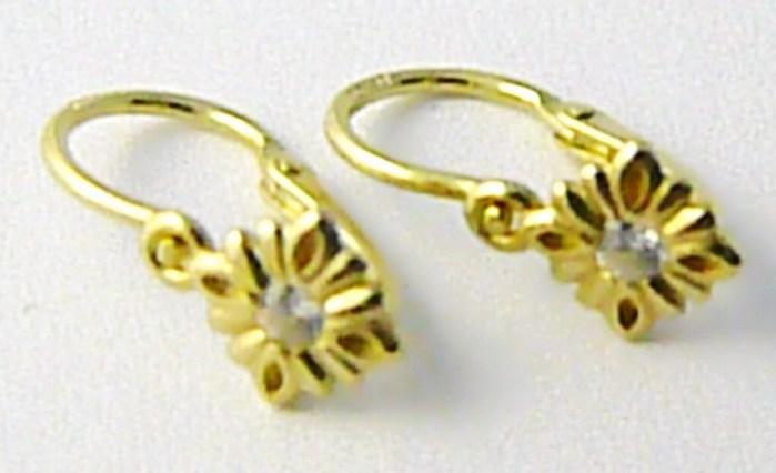 Dětské zlaté náušnice s čirými zirkony ze žlutého zlata 585/0,85 gr P541