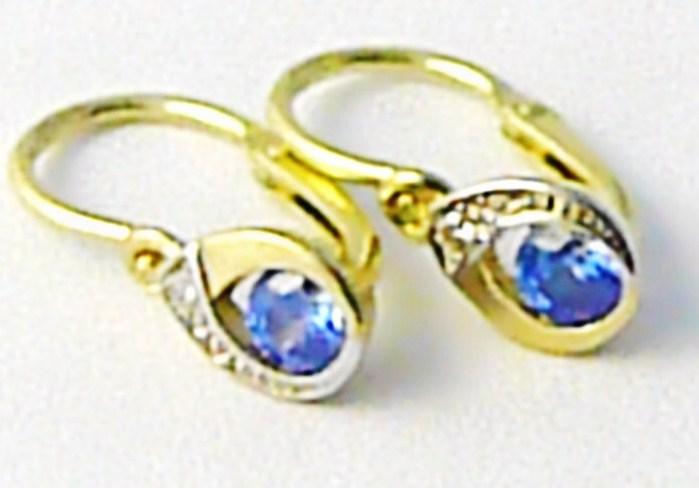 Dětské zlaté náušnice s modrými akvamaríny ze žlutého zlata 585/0,87 gr P542