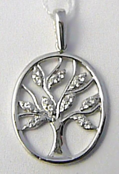 Zlatý přívěsek - strom života v bílém zlatě osetý zirkony 585/1,35 gr H609 POŠTOVNÉ ZDARMA! (POŠTOVNÉ ZDARMA!!!!)