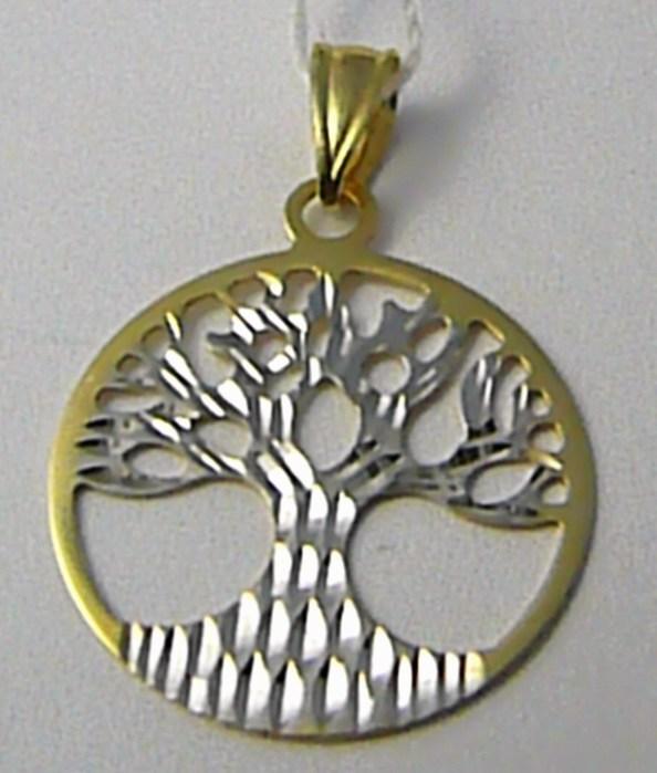 Velký přívěsek z bílého a žlutého zlata - strom života 585/1,10gr P599