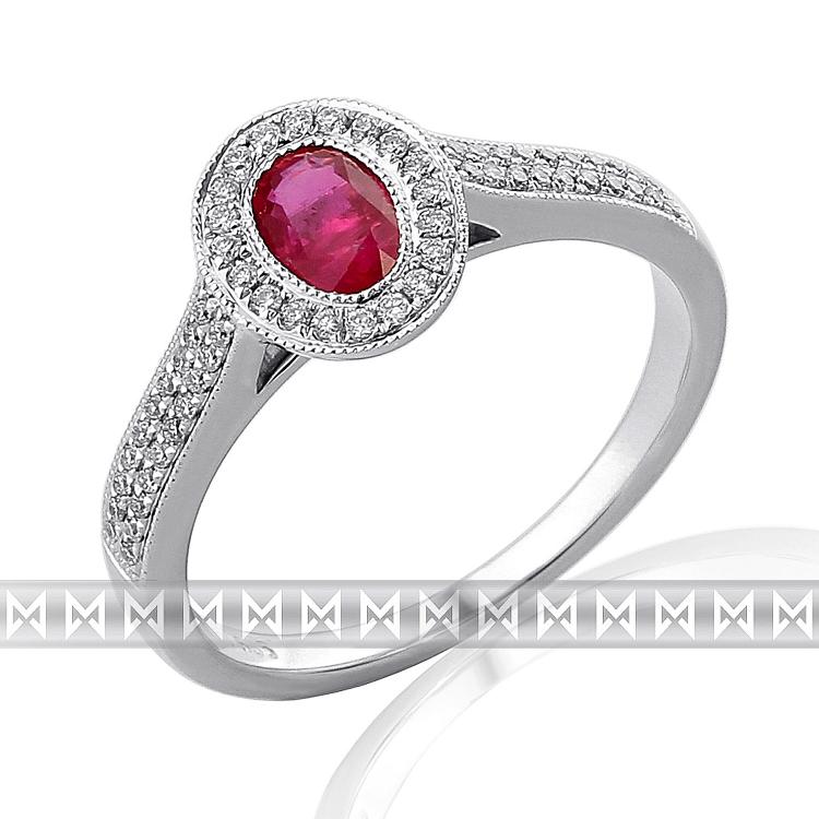 Luxusní prsten s diamantem, bílé zlato briliant, červený přírodní rubín 386199 POŠTOVNÉ ZDARMA! (3861996)