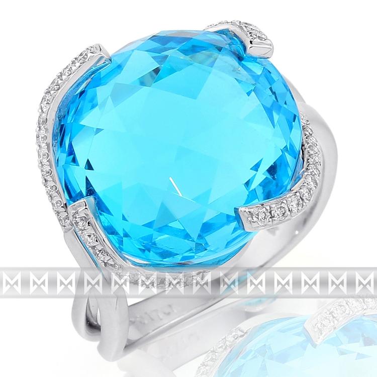 Luxusní prsten s diamantem, bílé zlato briliant, modrý topaz (blue topaz) 386 POŠTOVNÉ ZDARMA! (3861700)