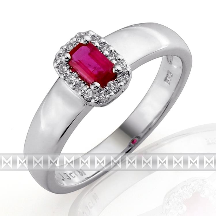 Luxusní zásnubní prsten s diamantem, bílé zlato briliant, přírodní rubín 386032 POŠTOVNÉ ZDARMA! (3860323)