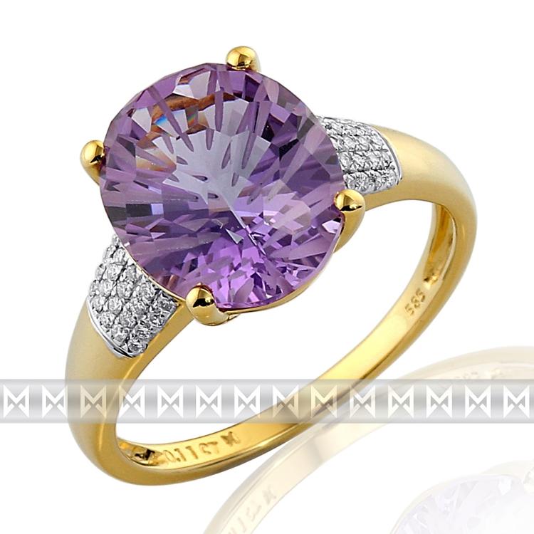Prsten s diamantem, žluté zlato briliant, ametyst fialový v kombinaci bílé zlato POŠTOVNÉ ZDARMA! (3812011)