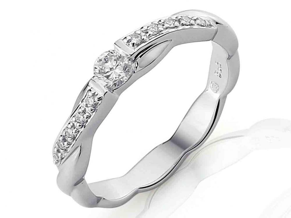 Luxusní zlatý diamantový zásnubní prsten s diamantem, bílé zlato brilianty POŠTOVNÉ ZDARMA! (3860417)