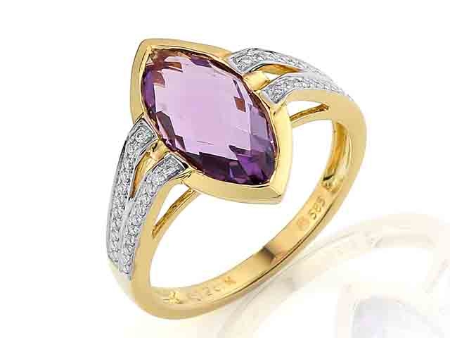 Prsten s diamantem, žluté zlato briliant, ametyst fialový v kombinaci bílé zlat POŠTOVNÉ ZDARMA! (3811045)