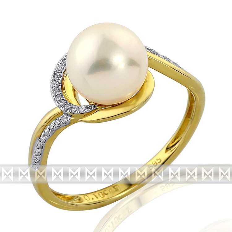 Zásnubní diamantový prsten s bílou perlou GEMS diamonds, žluté zlato 3810943 POŠTOVNÉ ZDARMA!